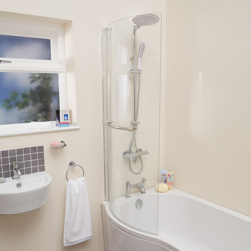 Curved Shower Bath Screen with Towel Rail