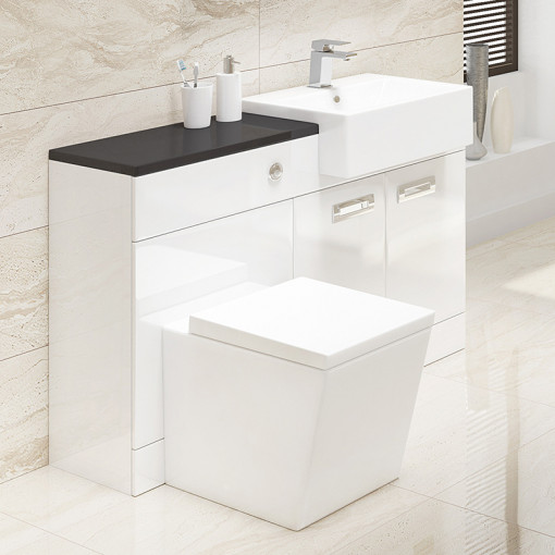 Cuba Right Hand Combination Unit with Black Worktop