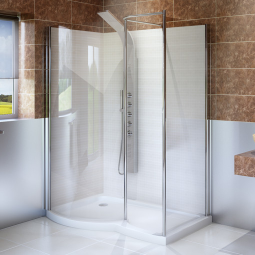 6mm 1400 x 900 Curved Complete Walk In Enclosure with Shower Tower Panel and Tray