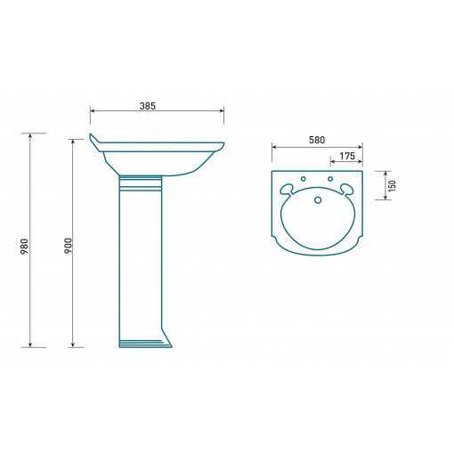 Belfast 2 Tap Hole Basin and Pedestal