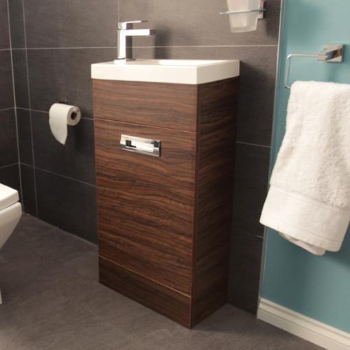Aspen™ Compact Walnut 410 Floor Mounted Vanity Unit