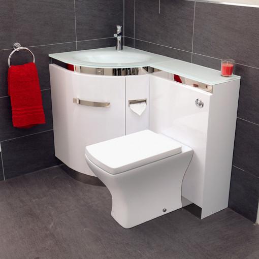 Vigo Left Hand Corner Combination Unit with White Basin