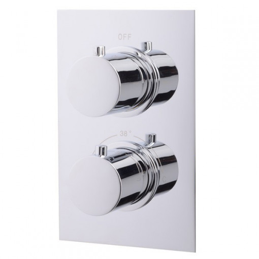 EcoS9 Dual Shower Valve with 20cm Round Head and Overflow Filler