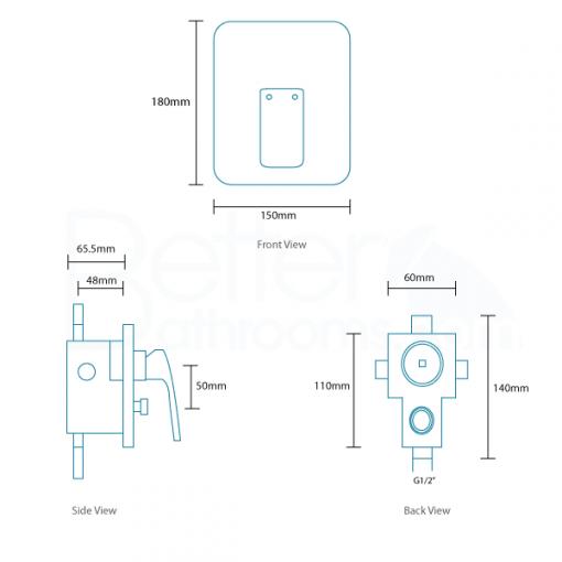 Fabia Premium Concealed Lever Shower Valve with Diverter