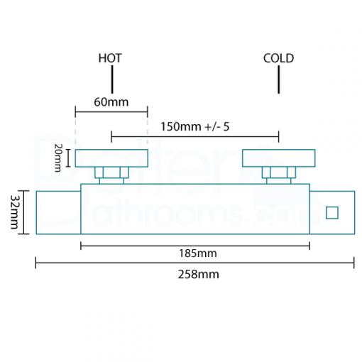 Rina Square Riser Slide Shower Rail Kit with Larkin II Valve