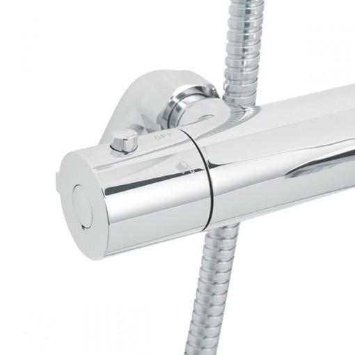 Rina Slide Shower Rail Kit with Focus Deck Valve & Bath Mixer