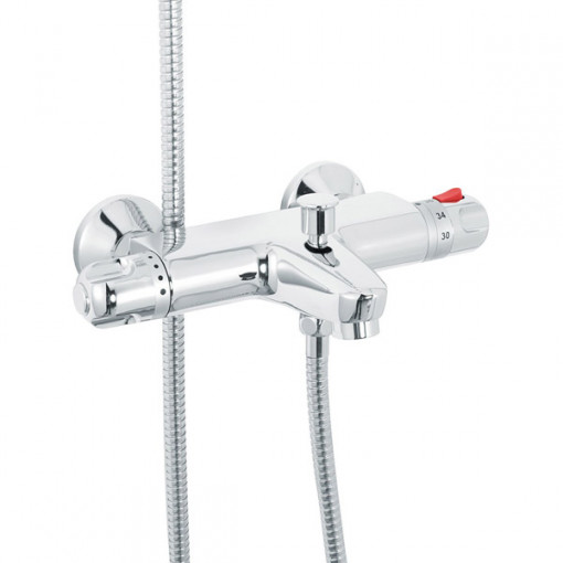 Laos Wall Mounted Bath Shower Mixer with Rina Slide Rail Kit