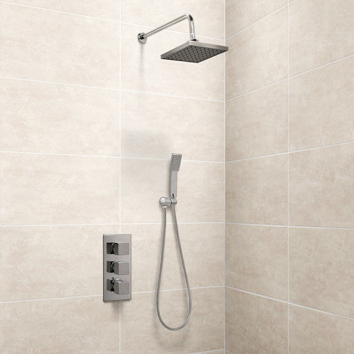 Cube Concealed Triple Control Thermostatic Shower Valve with Handset and Head