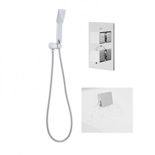 EcoCube Concealed Dual Control Shower Valve with Diverter, Overflow and Handset