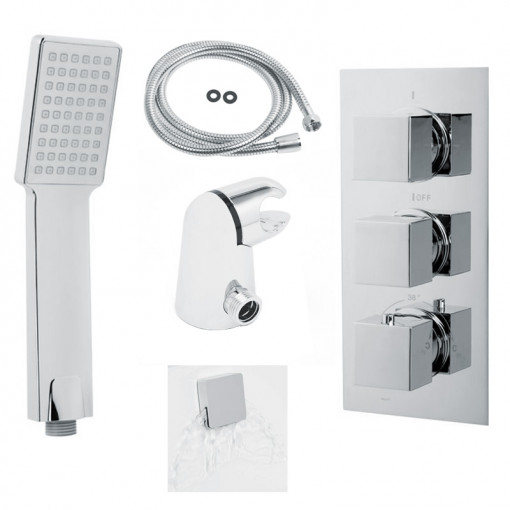 EcoCube Concealed Triple Control Shower Valve with Diverter, Overflow and Headset