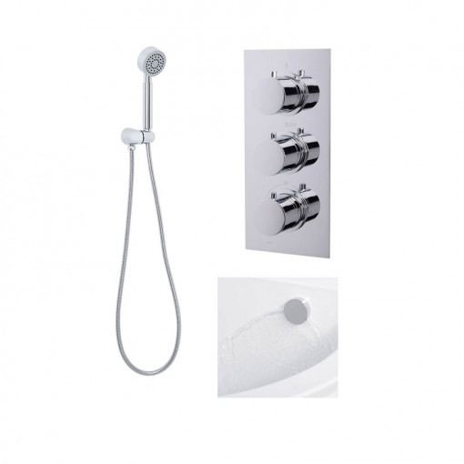 EcoS9 Concealed Triple Control Shower Valve with Diverter with Overflow and Handset