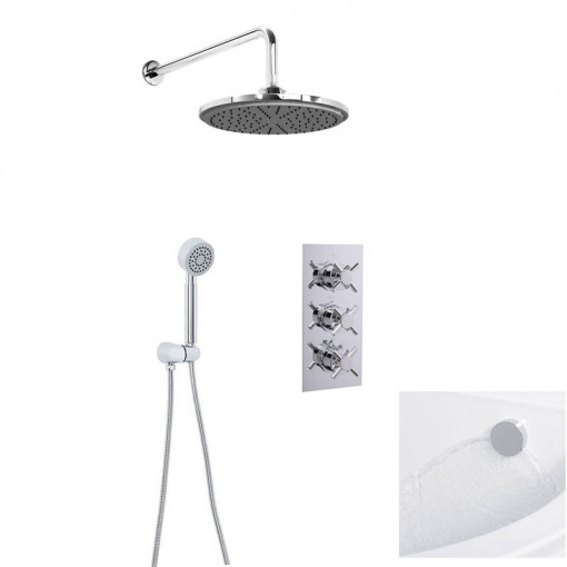 EcoStyle Triple Control Shower Valve with Diverter, Overflow and Handset