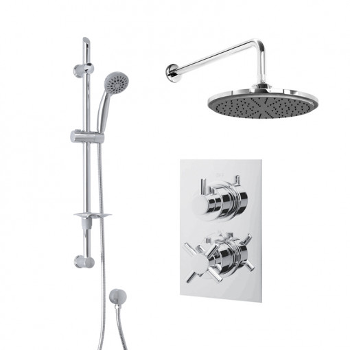 Rina Slide Shower Rail Kit with EcoStyle Dual Valve, 200mm Head & Wall Outlet