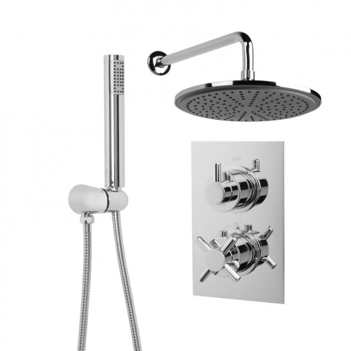 EcoStyle Dual Valve with Handset, 250mm Shower Head, Wall Arm & Outlet Elbow