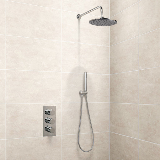 EcoS9 Triple Valve with Diverter, Wall Outlet, Hose, Handset, Shower Head and Overflow