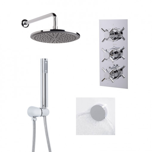 EcoStyle Triple Valve with Handset, 250mm Shower Head, Wall Outlet, Filler & Overflow