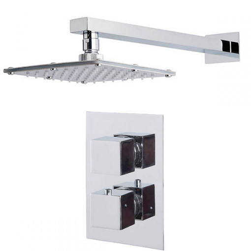 Cube Dual Valve with 175mm Square Shower Head & Wall Arm