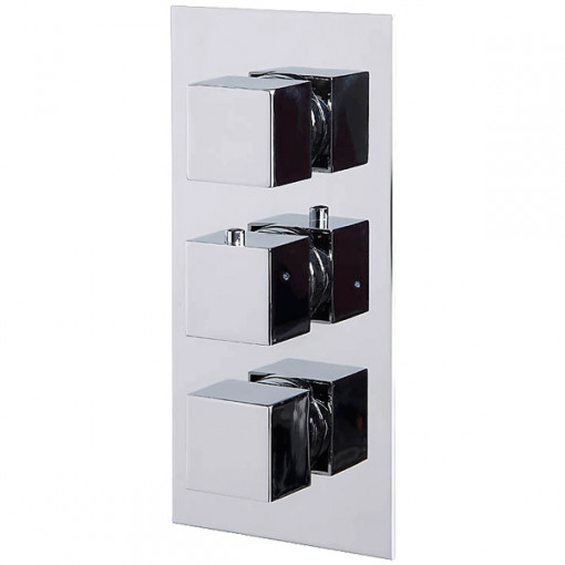 Cube Triple Valve with 175mm Square Shower Valve, Ceiling Arm, Filler & Overflow