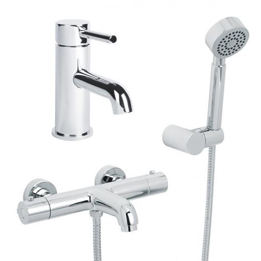 Focus Wall Mounted Bath Shower Mixer, Circo Handset and Focus Basin Mono
