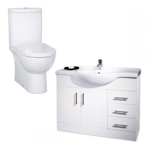 Rovigo Toilet & 105 White Vanity Unit
