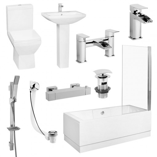 Tabor™ 1700 Shower Bath & Two Piece Suite with Taps & Waste