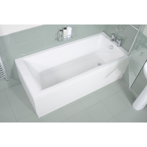 Carona 1700 x 700 Straight Shower Bath with 6mm Hinged Shower Screen