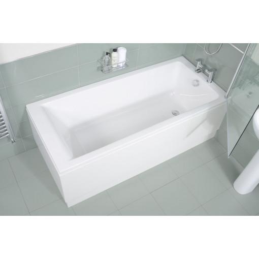 Carona 1700 x 750 Straight Shower Bath with 6mm Hinged Screen
