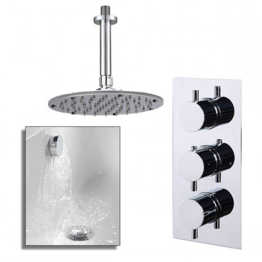 S9 Triple Valve with Rotondo Shower Head, Ceiling Arm, Filler & Overflow