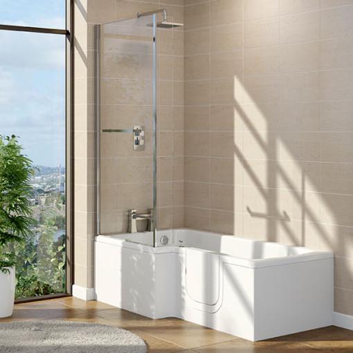 1700 x 850 x 700 Yale L Shape Walk In Shower Bath