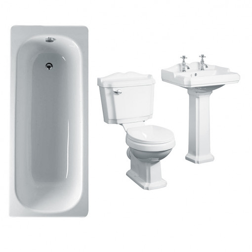 Steel Victoriana 1600 Bath Suite without Tap Holes