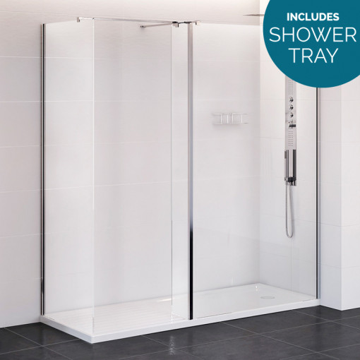 Trinity Premium 10mm 1400 x 800 Walk In Enclosure with Shower Tray