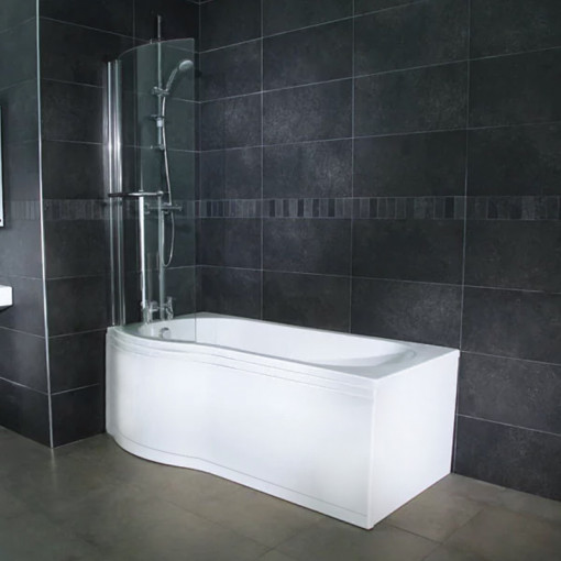 Airspa 1675 x 850 Left Hand P-Shaped Shower Bath with Curved Screen