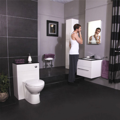 Tampa Back to Wall Toilet & Windsor Black Unit with Eden 60 Vanity Unit