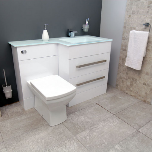 Vigo right hand combination unit and white basin - Combination bathroom vanity units ...