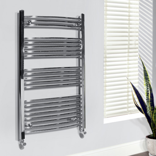 Beta Heat Electric 1150 x 600mm Curved Chrome Heated Towel Rail