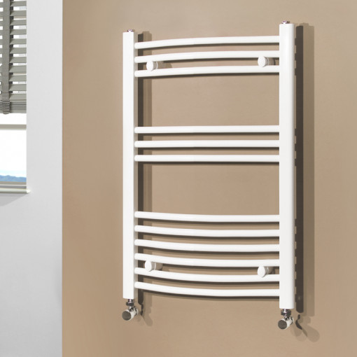 Beta Heat Electric 760 x 500mm Curved White Heated Towel Rail