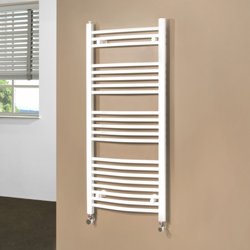 Beta Heat Electric 1150 x 500mm Curved White Heated Towel Rail