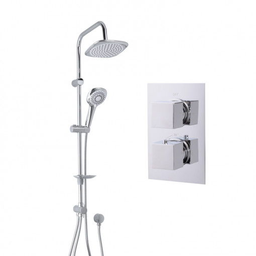 Vision Riser Slide Shower Rail Kit with EcoCube Dual Valve & Wall Outlet