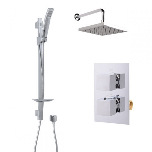Quadro Slide Shower Rail Kit with EcoCube Dual Valve, 200mm Square Head & Wall Outlet