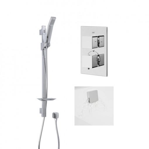Quadro Slide Shower Rail Kit with EcoCube Dual Valve, Wall Outlet, Filler & Overflow