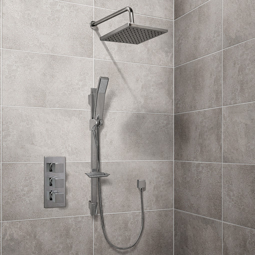 Quadro Slide Shower Rail Kit with EcoCube Triple Valve, 200mm Square Head, Wall Outlet, Filler & Overflow