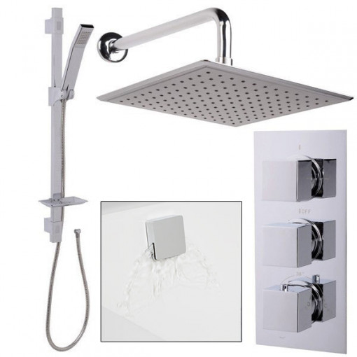 Quadro Slide Shower Rail Kit with EcoCube Triple Valve, 250mm Square Head, Wall Outlet, Filler & Overflow