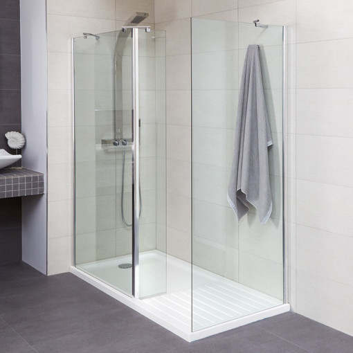 Aqualine™ 8mm 1400 x 900 Walk In Enclosure with Ultralite Shower Tray