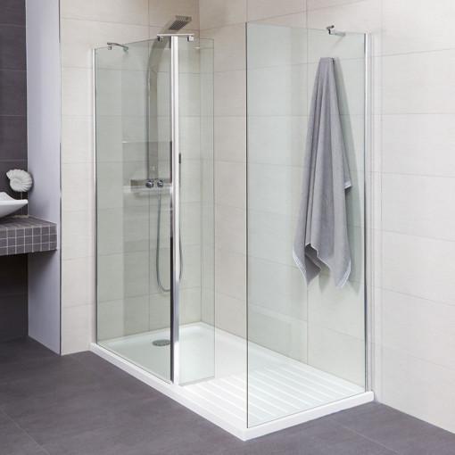 Aqualine™ 8mm 1600 x 800 Walk In Enclosure with Slimline Shower Tray