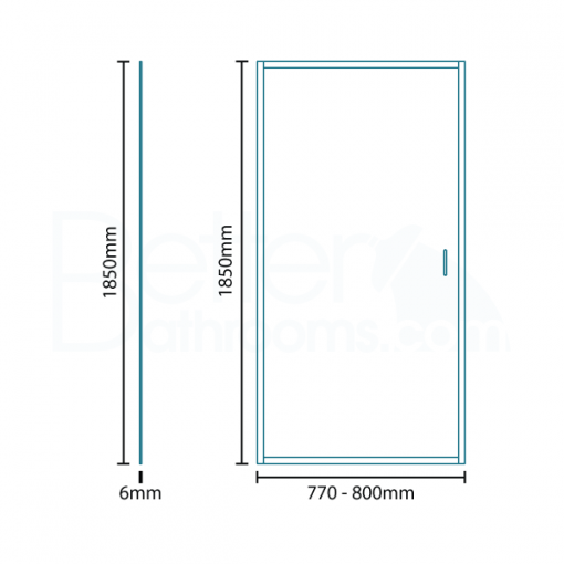 Aqualine™ 6mm 800 Pivot Shower Enclosure