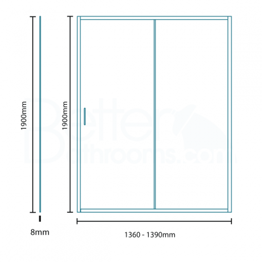 Aquafloe™ Iris 8mm 1400 x 900 Sliding Door Shower Enclosure