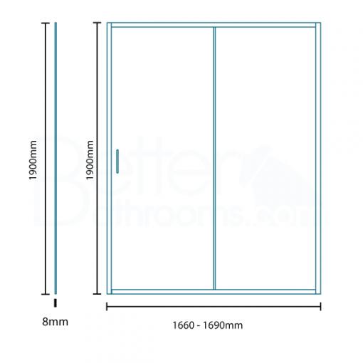 Aquafloe Iris 8mm 1700 x 900 Sliding Door Shower Enclosure