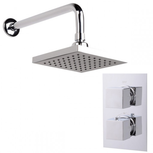 EcoCube Dual Valve with 150mm Square Shower Head & Wall Arm