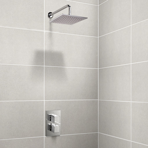 EcoCube Dual Valve with 200mm Square Shower Head & Wall Arm