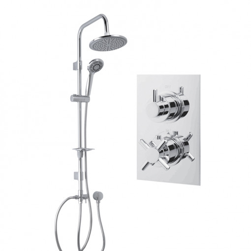 Dualex Riser Slide Shower Rail Kit with EcoStyle Dual Valve & Wall Outlet